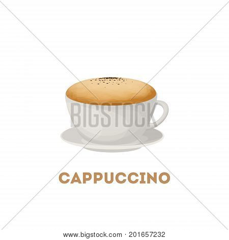 Isolated cappuccino cup on white background. Fresh and hot coffee with foam.