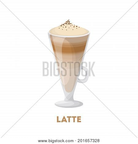 Isolated latte glass with foam on white background.