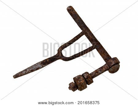 Old rusty iron part of primitive mechanism isolated on white background