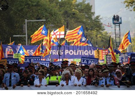 BARCELONA/SPAIN - 26 AUGUST 2017: Multitudinary protest against terrorism with the message