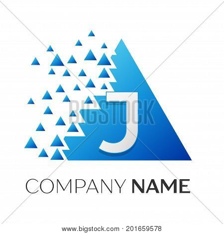 Realistic letter J vector logo symbol in the colorful triangle with shattered blocks on white background. Vector template for your design