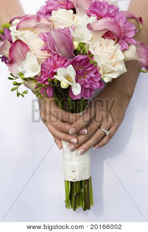 bouquet and hands