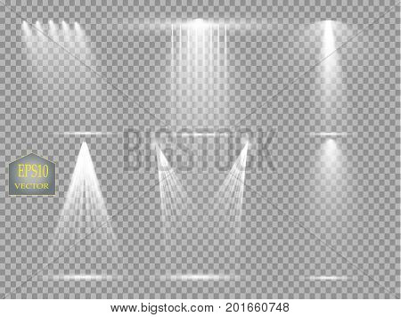 Vector light sources, concert lighting, stage spotlights set. Concert spotlight with beam, illuminated spotlights for web design illustration. Vector