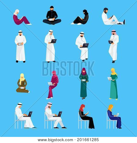 Set of Muslim people in a flat style isolated on a blue background. Muslim men and women read using tablet pc and laptops. Flat people in traditional Arabian clothes. Vector illustration.