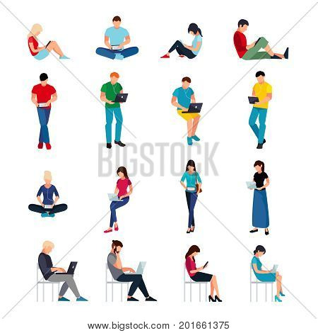 Set of young people in a flat style isolated on a white background. Flat men and women read using tablet pc and laptops. Set of European students in different poses. Vector illustration.