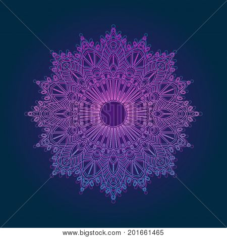 Vector glowing mandala. Design prints for t-shirts, posters, flyers, postcards. Vector illustrations in bright neon colors