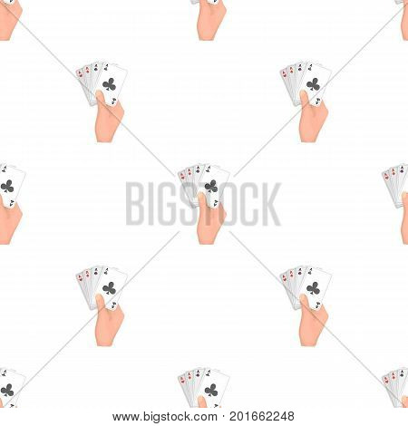 Combination of cards in hand. Playing cards single icon in cartoon style vector symbol stock illustration .