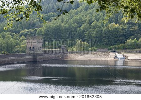 DERBYSHIRE UK - 24 Aug: Lower Derwent Reservoir on a sunny summer day on 24 Aug 2014 in the Peak District, Derbyshire, UK