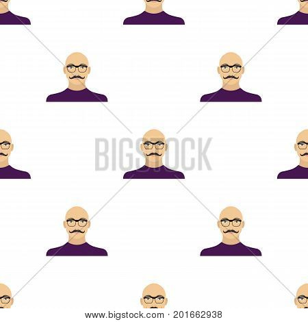 The face of a bald man with a mustache in glasses. Face and appearance single icon in cartoon style vector symbol stock illustration .