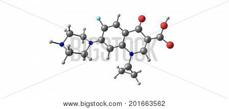 Ciprofloxacin is an antibiotic used to treat a number of bacterial infections.This includes bone and joint infections intra abdominal infections infectious diarrhea respiratory tract infections. 3D illustration