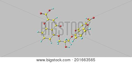 Cromoglicic acid or cromoglicate or cromolyn sodium is described as a mast cell stabilizer. This drug prevents the release of inflammatory chemicals such as histamine from mast cells. 3d illustration