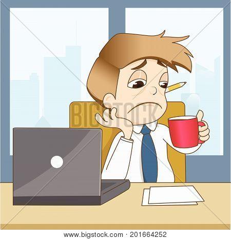 Boring businessman drink coffee in office - vector illustration