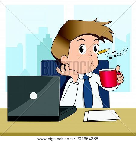 Happy businessman whistling and drink coffee in office - vector illustration