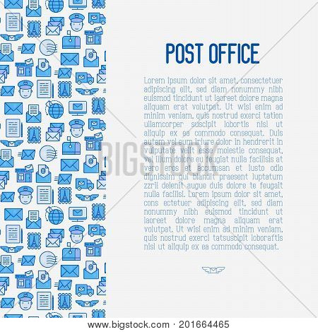 Post office concept with thin line icons. Symbols of shipping, delivery, packaging. Vector illustration for banner, web page, print media.