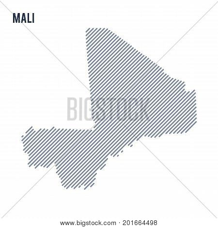 Vector Abstract Hatched Map Of Mali With Oblique Lines Isolated On A White Background.