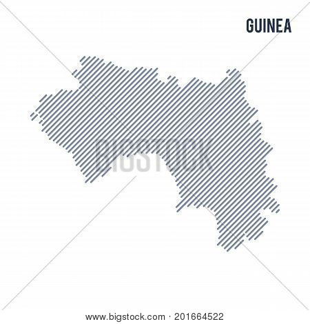 Vector Abstract Hatched Map Of Guinea With Oblique Lines Isolated On A White Background.