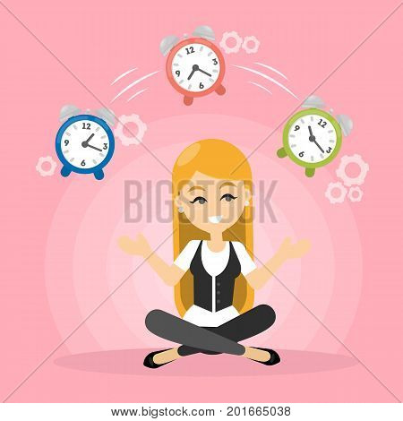 Time management concept. Woman juggles with alarm clock.