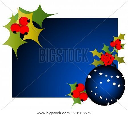 christmas frame with berries