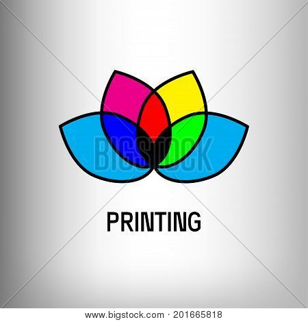 Logo printing. Lotus flower with colored petals. Color model CMYK and RGB. Vector illustration