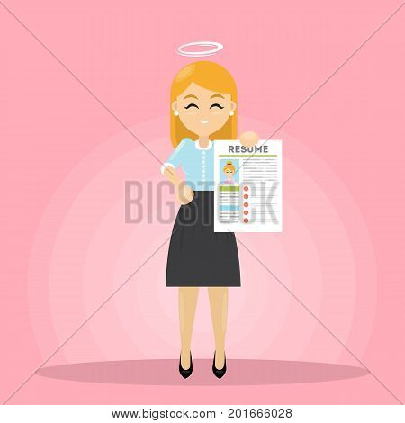 Woman with nimbus standing with resume. Finding good candidate.