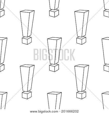 exclamation marks repetition. Abstract seamless pattern background on white Vector Illustration
