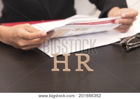 business employer holding Job application. concept HR and interview hiring.