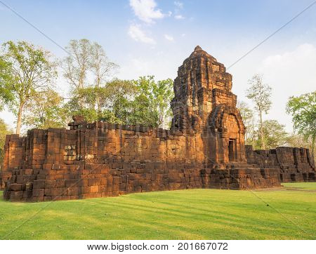 The ancient Khmer-style temple in Mueang Singh historical park in Kanchanaburi Province Thailand which is believed to be built in the 13th century.
