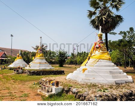 The Three Pagodas or Dan Chedi Sam Ong Sangkhlaburi District Kanchanaburi Province Thailand which is the historical sit at the border between Thailand and Myanmar