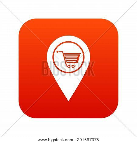 Geo tag with shopping cart symbol icon digital red for any design isolated on white vector illustration