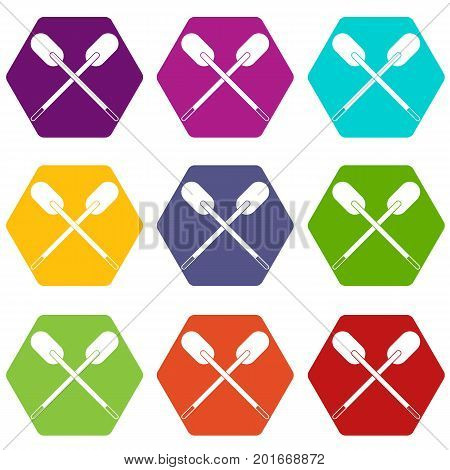 Two wooden crossed oars icon set many color hexahedron isolated on white vector illustration