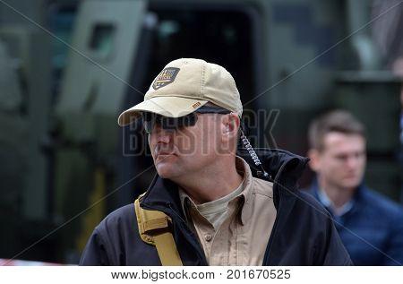 Security  in downtown during speech  of Gauleiter Poroshenko.Celebration of the Great Victory near Illovaysk.Downtown of Kiev.August 23, 2017 Kiev, Ukraine