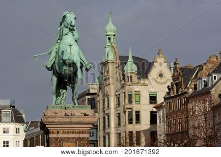 COPENHAGEN, DENMARK - NOVEMBER 7, 2016: Equestrian statue of Absalom on Hojbro Plads. It was unveiled in 1902 to mark the 700 years' anniversary of the death of Bishop Absalon, the city's founder