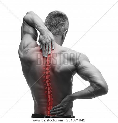 Spine pain man with backache and ache in the neck black and white photo with red backbone isolated on white background