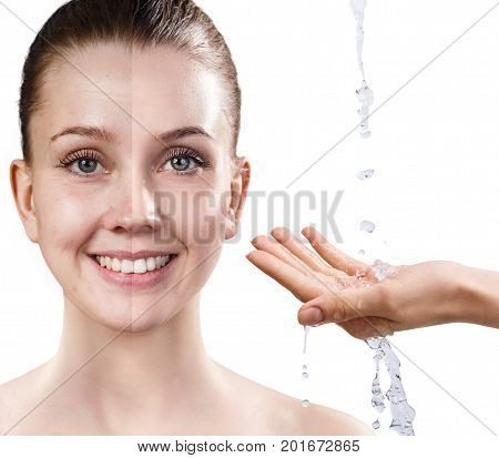 Woman's face before and after rejuvenation by clear water. Anti-aging concept.