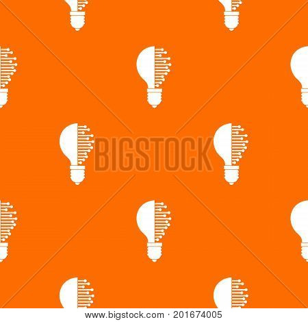 Lightbulb with microcircuit pattern repeat seamless in orange color for any design. Vector geometric illustration