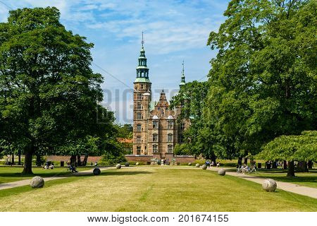 COPENHAGEN DENMARK - June 23 2016: Rosenborg Castle and Gardens in Copenhagen. The castle was originally built as a country summerhouse in 1606