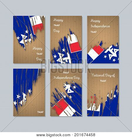 Taaf Patriotic Cards For National Day. Expressive Brush Stroke In National Flag Colors On Kraft Pape
