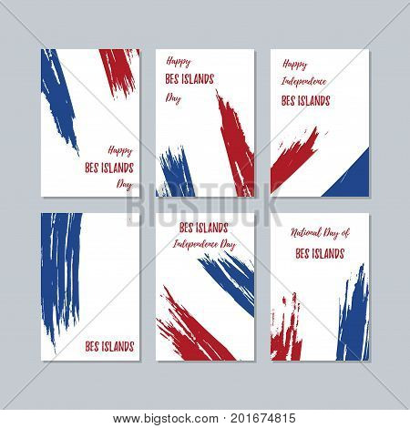 Bes Islands Patriotic Cards For National Day. Expressive Brush Stroke In National Flag Colors On Whi