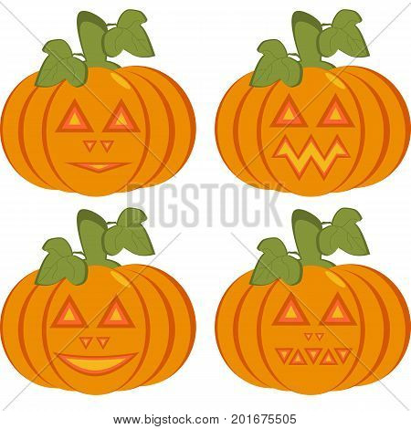 A set of isolated icons of orange pumpkins with carved horrible and smiling faces. Objects can be used as Jack-o-lantern for decorating postcards and illustrations for the celebration of Halloween