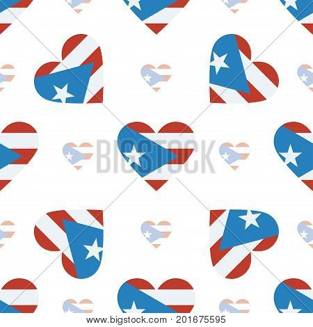Puerto Rico Flag Patriotic Seamless Pattern. National Flag In The Shape Of Heart. Vector Illustratio