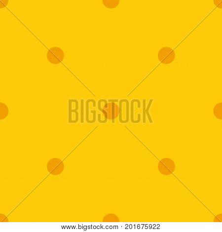 Orange Polka Dots Seamless Pattern On Yellow Background. Glamorous Classic Orange Polka Dots Textile