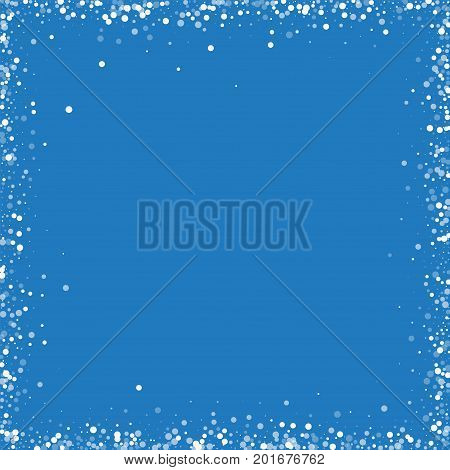 Random Falling White Dots. Chaotic Frame With Random Falling White Dots On Blue Background. Vector I