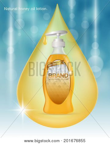 Ads Natural honey oil lotion. Blue and gold background template...water drop color gold. Design oil lotion product advertising blur and bokeh background...Vector realistic file.