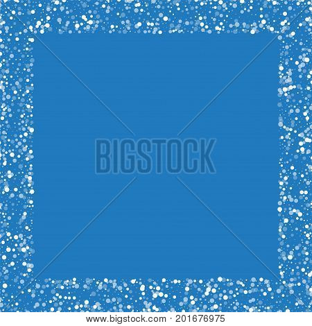 Random Falling White Dots. Square Scattered Border With Random Falling White Dots On Blue Background