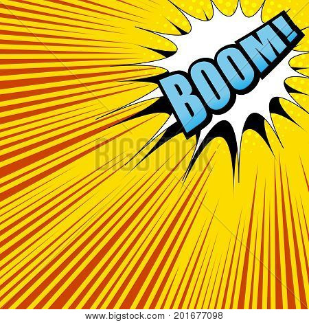 Explosion comic template with Boom word, white speech bubble, orange background, halftone effect and bright rays. Vector illustration