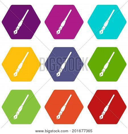 Ink pen icon set many color hexahedron isolated on white vector illustration
