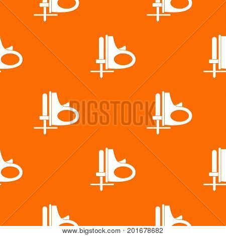 Cordless reciprocating saw pattern repeat seamless in orange color for any design. Vector geometric illustration