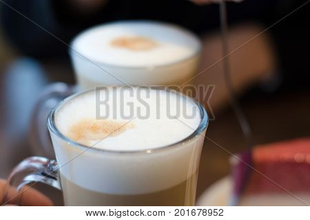 Two coffee cappuccino latte with a foamy restaurant