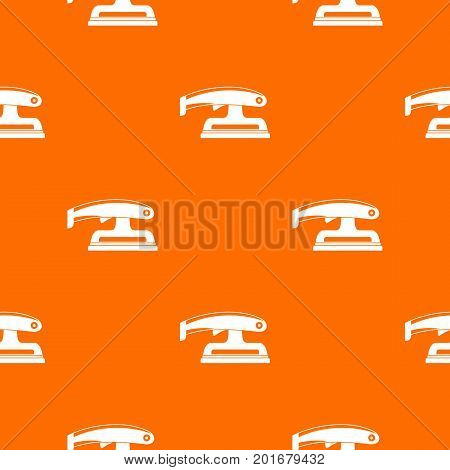 Fret saw pattern repeat seamless in orange color for any design. Vector geometric illustration