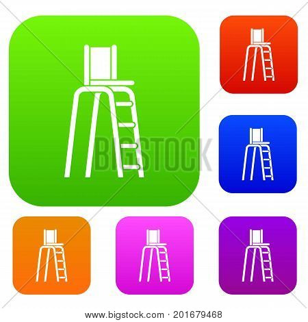 Tennis tower for judges set icon in different colors isolated vector illustration. Premium collection